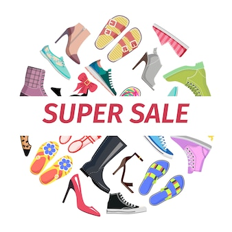 Supper summer shoes sale flat vector concept