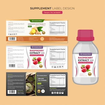Supplement bottle label design template