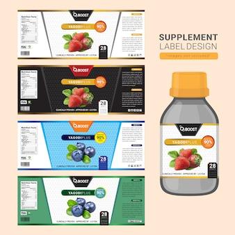 Supplement bottle label design
