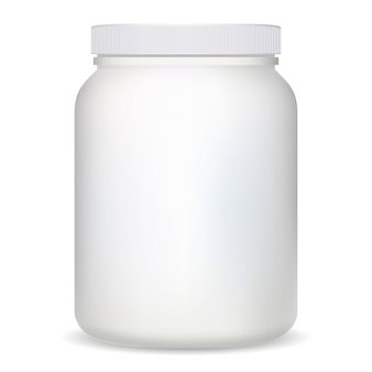 Supplement bottle. white plastic protein container