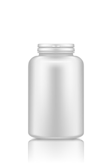 Макет пластиковой бутылки добавки или лекарства таблетки, изолированные на белом фоне