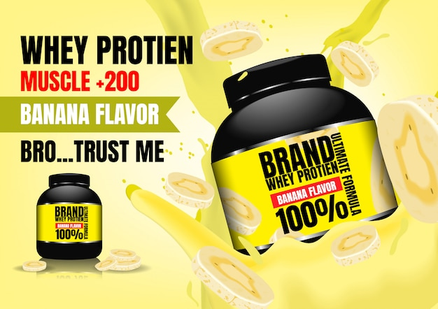 Supplement whey in creamy milk with slice banana on yellow background