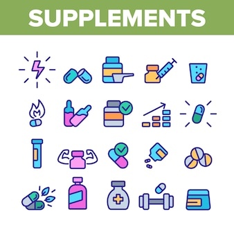 Supplements collection elements icons set
