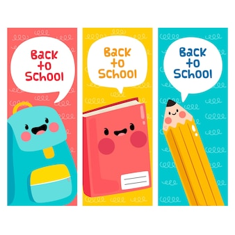 Supplies with faces back to school concept