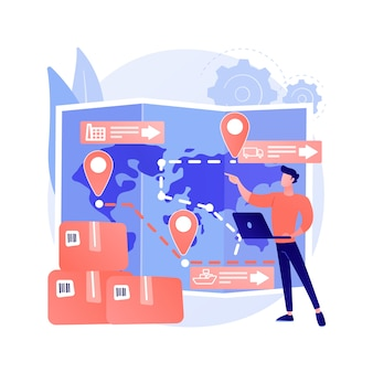 Иллюстрация вектора абстрактного понятия управления цепочкой поставок. управление логистическими операциями, хранение товаров и услуг, доставка продуктов, розничная торговля, абстрактная метафора транспортировки.