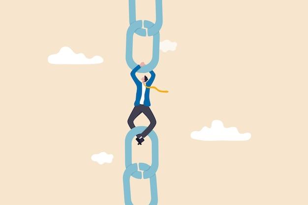 サプライチェーンの問題、産業ビジネスのリスクまたは脆弱性、チェーンをまとめる接続または管理の概念、金属チェーンをまとめる疲労ビジネスマンマネージャー。
