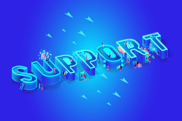 Support 3d isometric word