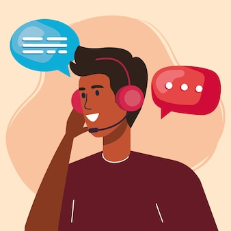 Support agent with speech bubbles