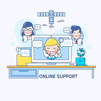 Support and online consultant manager on the screen of laptop.Thin line flat design concept for technical support