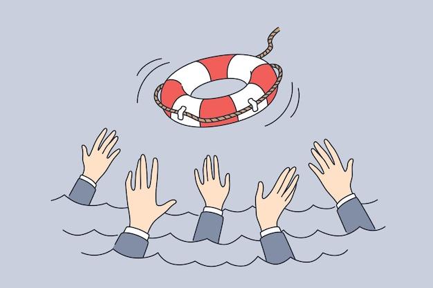 破産した危機管理の概念をサポートする
