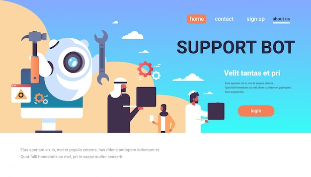 Support bot landing page with arabic people