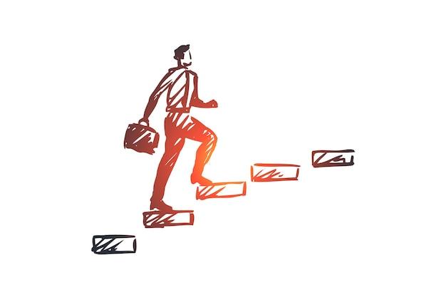 サポート、ビジネス、顧客、仕事、コミュニケーションの概念。手描きのビジネスマンは、階段のコンセプトスケッチを登ります。