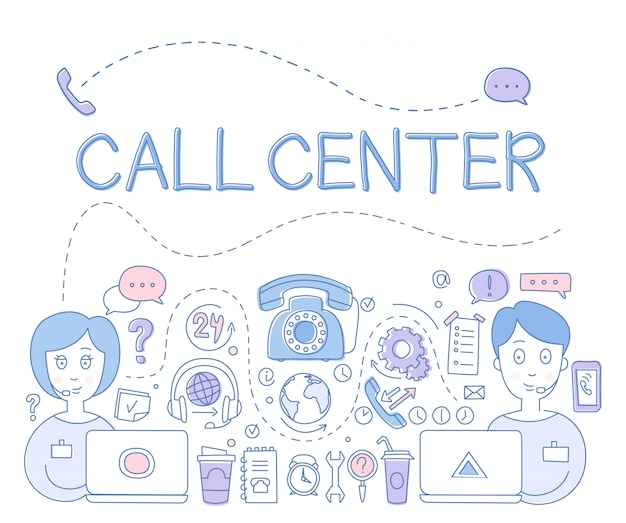 Support call center. illustration