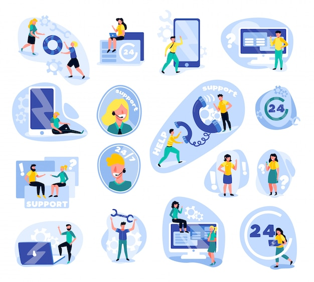 Support call centre set of isolated icons with doodle human characters gadgets icons