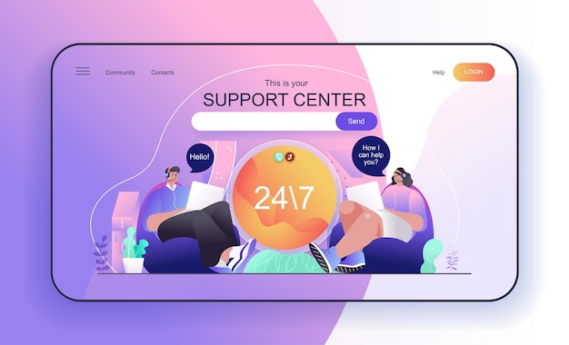 Support center concept for landing page customer support operators receive calls and messages