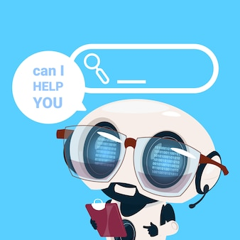 Support center headset agent robot client online operator artificial intelligence customer and technical service icon chat concept