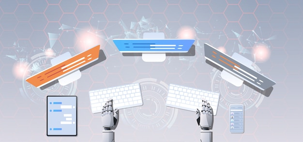 Support chat bot robot hands using computer and mobile application virtual assistance online