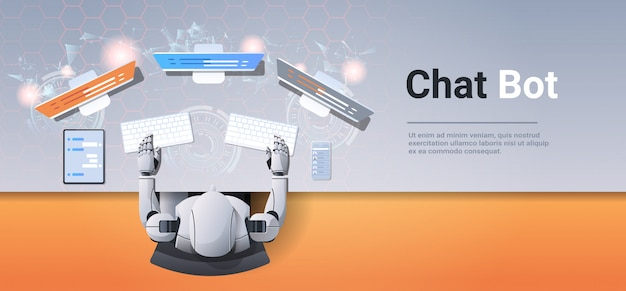 Support chat bot robot using computer and mobile application virtual assistance online communication