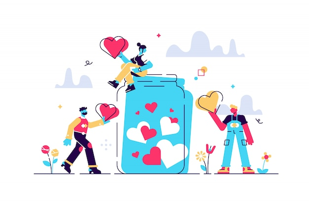 Support concept, flat tiny volunteer persons illustration. donation jar collecting heart symbols with a giving hand. charity help campaign for social awareness. generous community people art.
