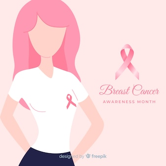 Support girl breast cancer awareness background