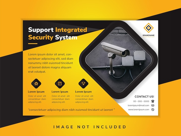 Support integrated security system banner illustration for business technology black and yellow shade banner dark background yellow lettering horizontal flyer header website vector illustration