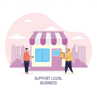 Support local business campaign with store building illustration design