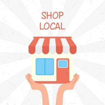 Поддержите местную бизнес-кампанию с помощью дизайна иллюстрации здания магазина