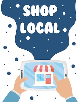 Support local business campaign with store building in tablet illustration design