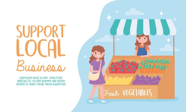 Support local business, female farmer with fresh vegetables and customer illustration