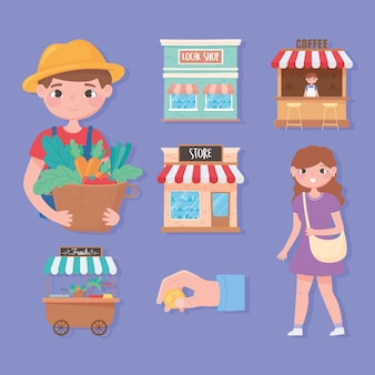 Support local business, icons set farmer, woman vegetables local shop coffee store illustration