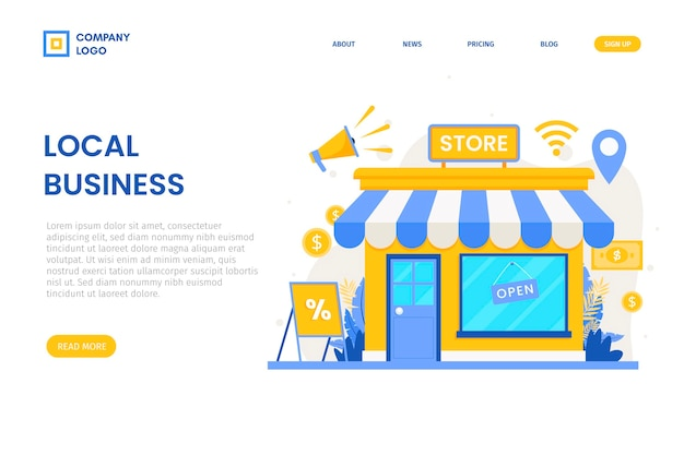 Support the local business landing page