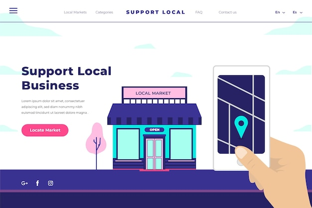 Support local business landing page