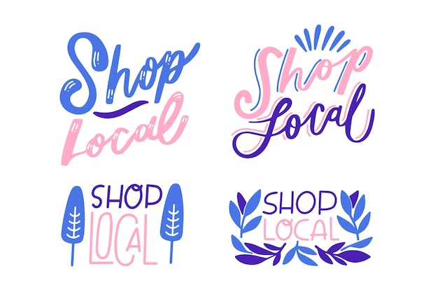 Support local business lettering set design