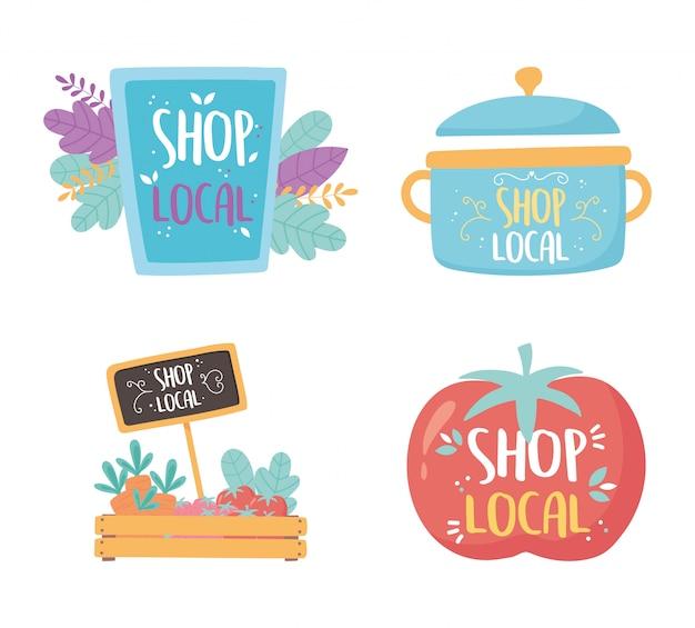 地元のビジネスをサポートし、小さな市場で買い物をし、調理鍋製品の新鮮なアイコンをボードに入れます