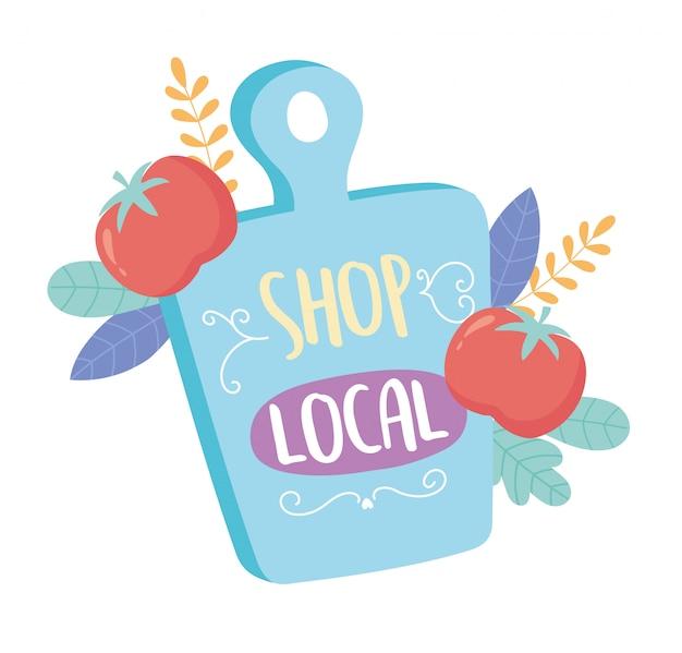 地元のビジネスをサポートし、小さなマーケットボードのテキストと野菜を購入する