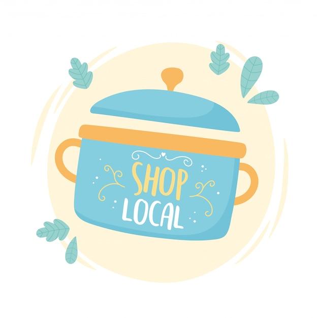 地元のビジネスをサポートし、小さな市場の調理鍋有機食品を購入する