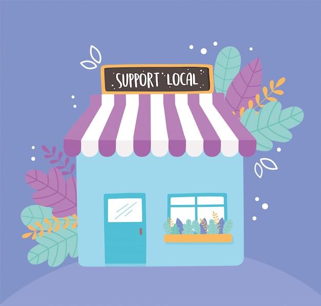 地元のビジネスをサポートし、看板のファサードで小さな市場で買い物をする