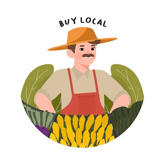 地元の農家イラストを応援