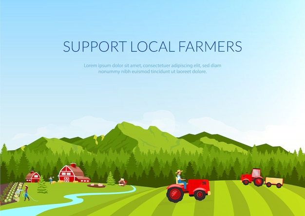 Support local farmers banner flat template