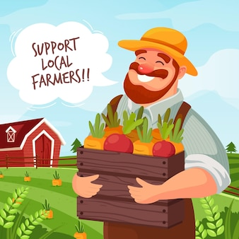 Support local farmers concept illustration