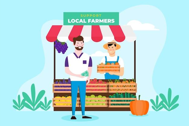 地元の農家のコンセプトをサポート