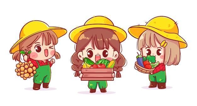 Поддержка местных фермеров симпатичная девушка, персонаж мультфильма, иллюстрация