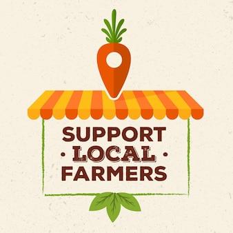 Поддержка местных фермеров иллюстрирует концепцию