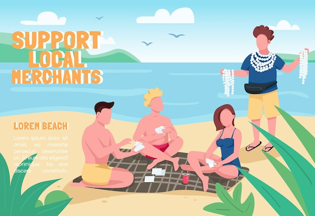 Support local merchants banner flat  template. brochure, poster concept design with cartoon characters. tourists buying seashell souvenirs at beach horizontal flyer, leaflet with place for text