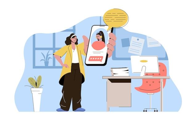 Концепция службы поддержки женщина звонит в службу поддержки