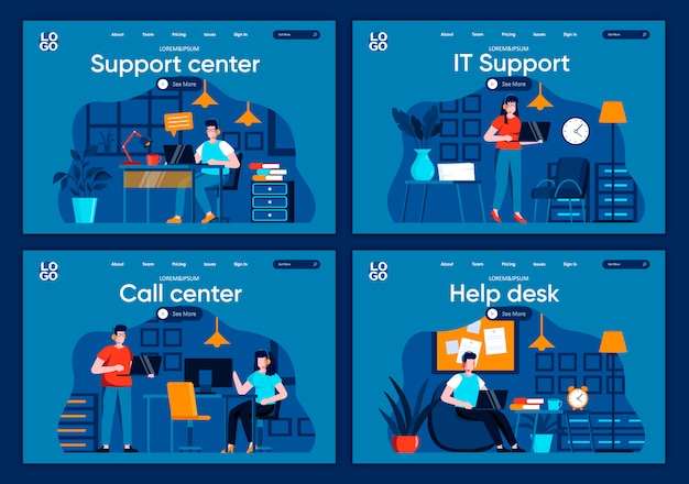 Support service flat landing pages set. helpline operator with headset work with computer scenes for website or cms web page. online it consultation and assistance in call center illustration