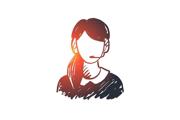 지원, 서비스, 헤드셋, 전화, 지원 개념. 손으로 그린 된 전화 서비스 도우미 개념 스케치.