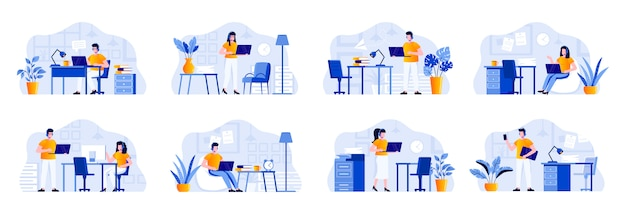 Support service scenes bundle with people characters. helpline operator with headset work with computer in office situations. online consultation and assistance in call center flat illustration