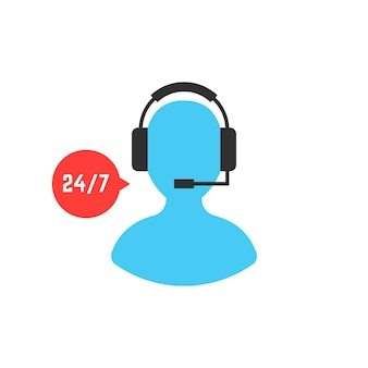 사용자 아이콘으로 서비스를 지원합니다. 텔레마케팅, 비서, 실시간 피드백, 상담, 컨설턴트의 개념. 흰색 배경에 고립. 플랫 스타일 트렌드 현대 로고 디자인 벡터 일러스트 레이 션