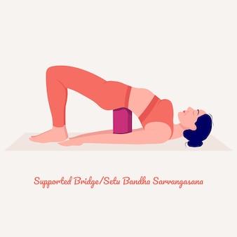 サポートされているブリッジヨガのポーズヨガの練習をしている若い女性